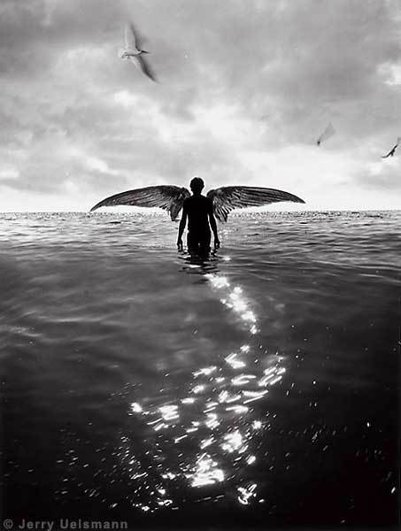 angel walking in water