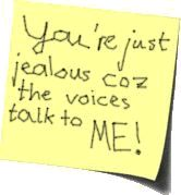 you're just jealous coz the voices talk to me