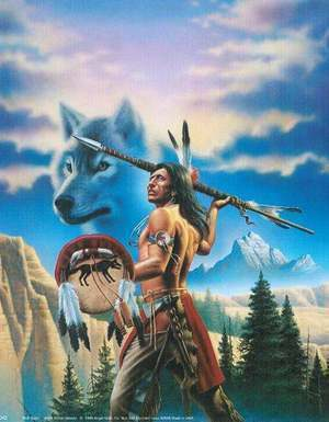 native american male wolf