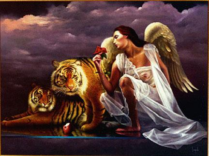 Angel and tigers