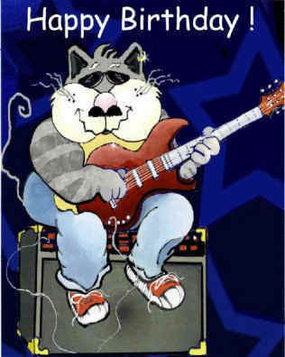 happy birthday cat playing guitar