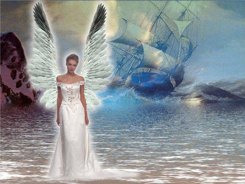 angel standing on water