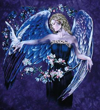 angel with bird and flowers