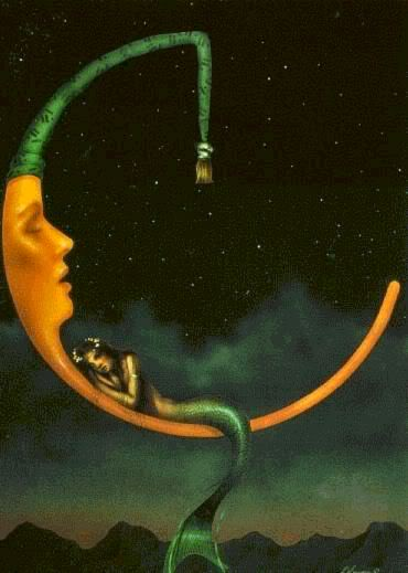 mermaid sleeping on the moon