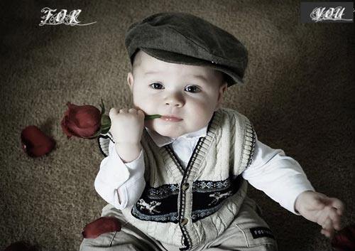 baby with rose for you