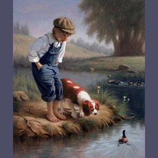 boy and dog watch duck