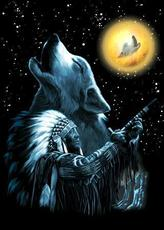 native american and wolf