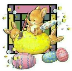 easter bunnies painting easter eggs
