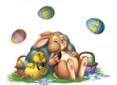 bunny and baby chicken eat candy with easter eggs floating above them