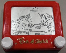 unicorns playing poker on an etch a sketch